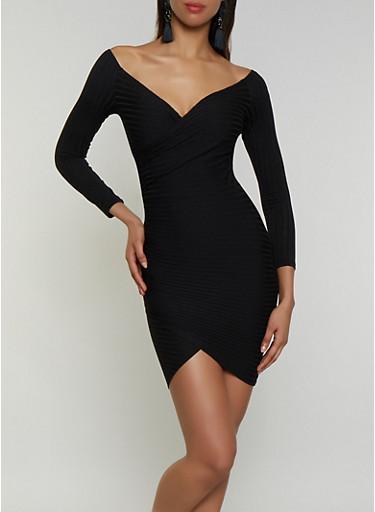 Off the Shoulder Faux Wrap Bodycon Dress,BLACK,large