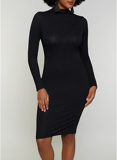 Rib Knit Mock Neck Bodycon Dress,BLACK,large