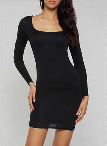 Long Sleeve Square Neck Dress,BLACK,large