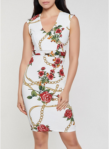 Floral Chain Print Sheath Dress,IVORY,large