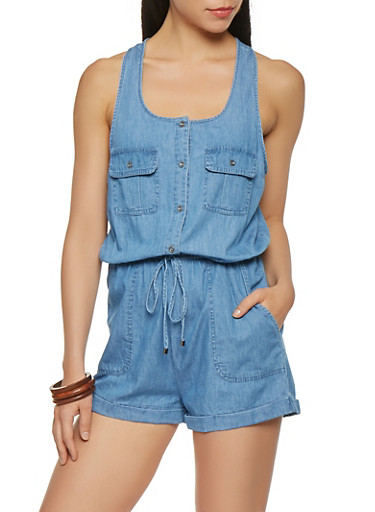 Cinched Waist Chambray Romper,MEDIUM WASH,large
