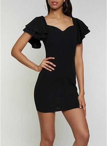 Flutter Sleeve Bodycon Dress,BLACK,large