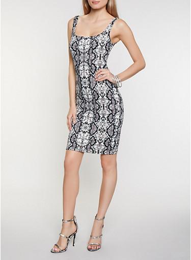 Snake Print Tank Dress,BLACK/WHITE,large
