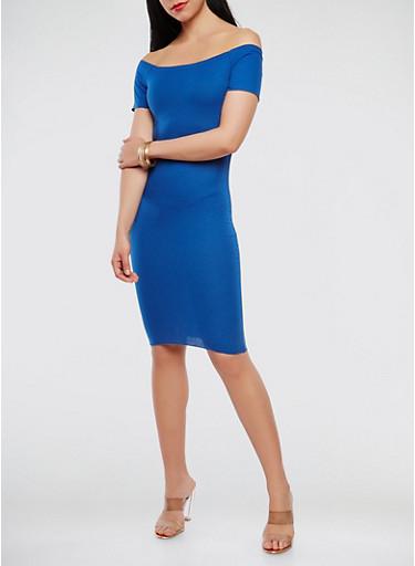 Off the Shoulder Ribbed Knit Dress,RYL BLUE,large
