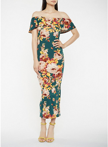 Floral Off the Shoulder Maxi Dress,HUNTER,large
