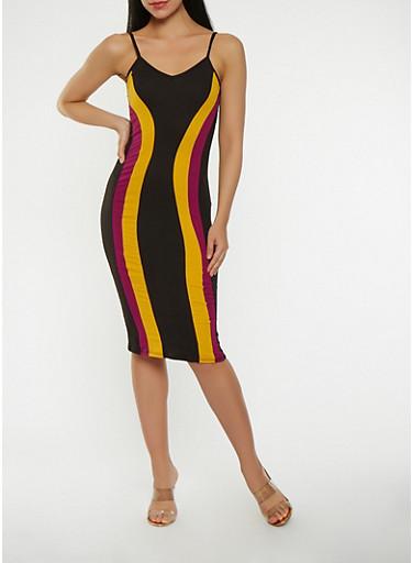 Color Block Tank Dress,BLACK,large