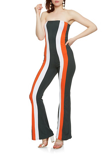 Soft Knit Striped Strapless Jumpsuit,OLIVE,large