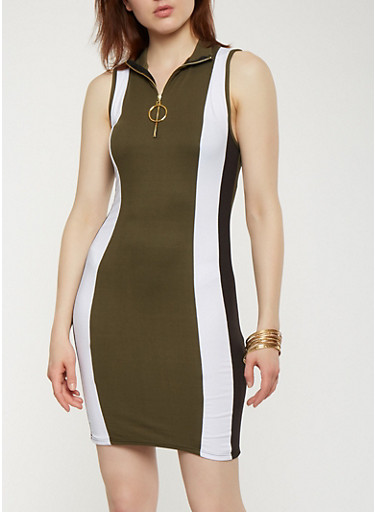 Color Block Tank Dress,OLIVE,large