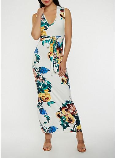 Soft Knit Floral Maxi Dress,IVORY,large