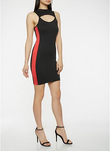 Keyhole Side Stripe Tank Dress,BLACK,large