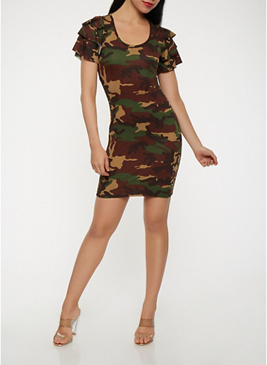Camo Soft Knit Bodycon Dress,OLIVE,large