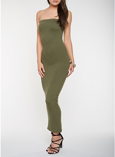 Solid Tube Maxi Dress,OLIVE,large