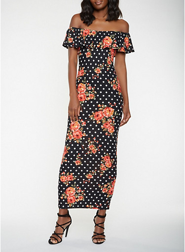 Off the Shoulder Floral Polka Dot Maxi Dress,BLACK,large