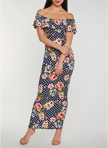 Printed Off the Shoulder Maxi Dress,NAVY,large