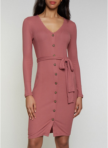 Belted Rib Knit Button Front Dress,MAUVE,large