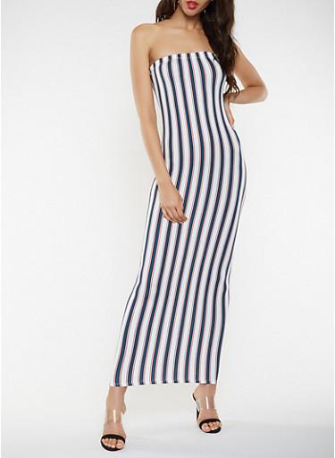 Striped Maxi Tube Dress,IVORY,large