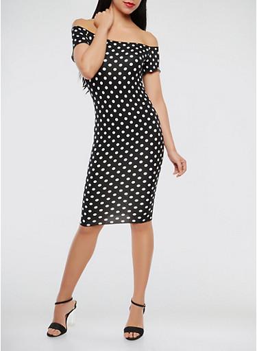 Off the Shoulder Polka Dot Dress,BLACK/WHITE,large