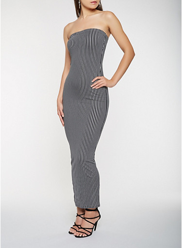 Striped Tube Maxi Dress,BLACK,large