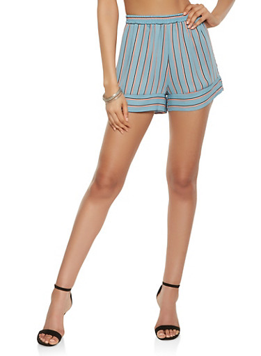 Striped Chiffon Shorts,MINT,large