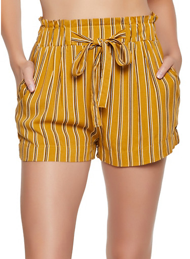 Tie Front Striped Shorts,MUSTARD,large