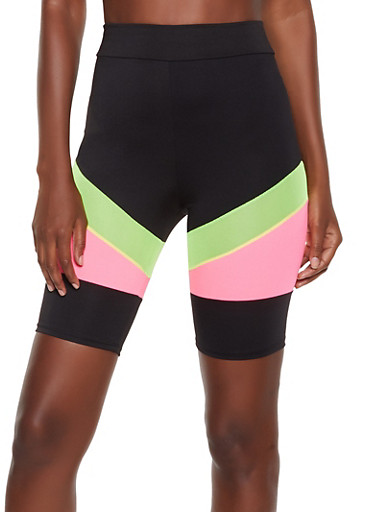 Color Block Mesh Insert Bike Shorts by Rainbow