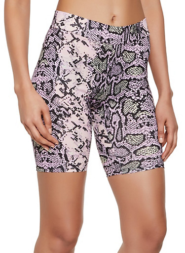 Soft Knit Snake Print Bike Shorts,PINK,large