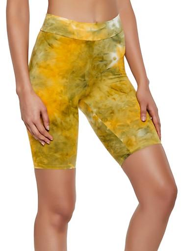 Tie Dye Soft Knit Bike Shorts,MUSTARD,large