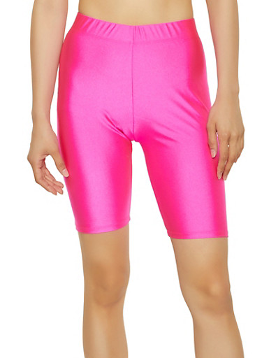 Solid Neon Bike Shorts,NEON PINK,large