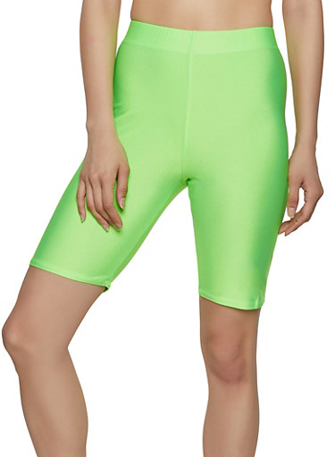 Neon Spandex Bike Shorts,LIME,large