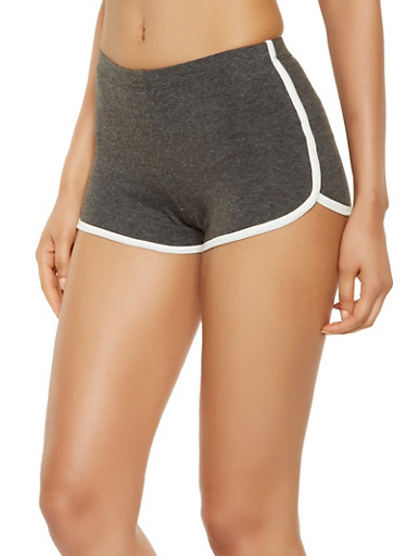 Contrast Trim Dolphin Shorts,CHARCOAL,large