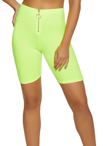 Soft Knit Zip Front Bike Shorts,NEON LIME,large