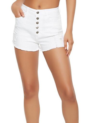 High Waisted Frayed Denim Shorts - 3411068196341