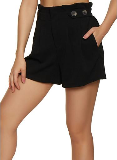 Paper Bag Waist Pleated Shorts,BLACK,large