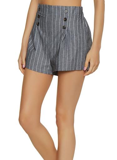 Vertical Stripe Sailor Shorts,BLACK,large