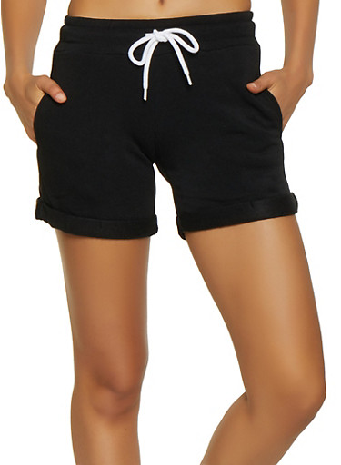Fleece Lined Sweatshorts,BLACK,large