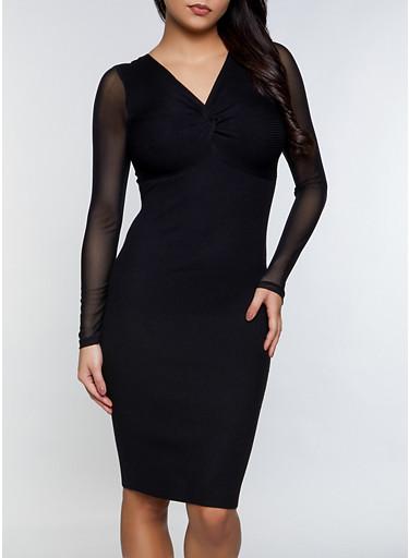 Twist Front Mesh Sleeve Dress,BLACK,large