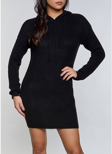 Hooded Sweater Dress,BLACK,large