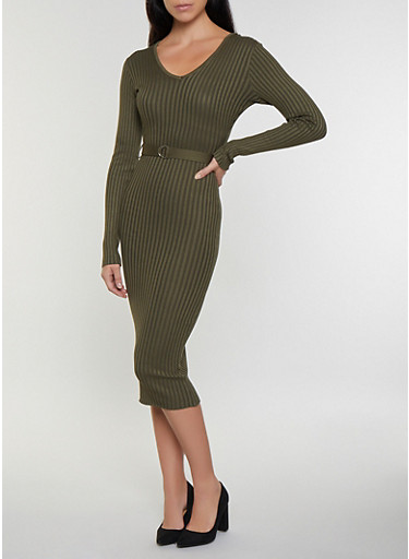 Long Sleeve V Neck Sweater Dress,OLIVE,large