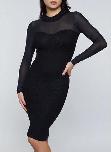 Mesh Yoke Sweater Dress,BLACK,large