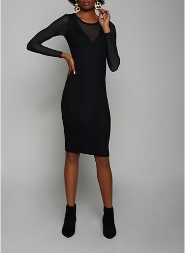 Mesh Detail Rib Knit Bodycon Dress,BLACK,large