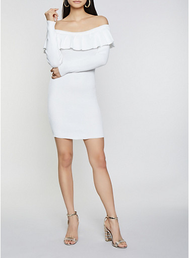 Ruffle Off the Shoulder Sweater Dress,IVORY,large