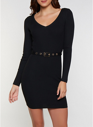 Belted Sweater Dress,BLACK,large