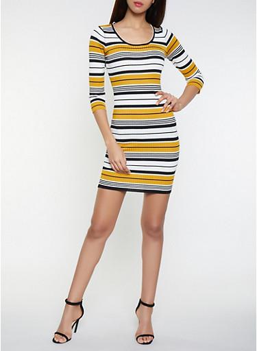 Striped Sweater Dress,MUSTARD,large
