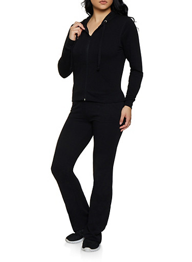 Solid Sweatshirt and Sweatpants Set,BLACK,large