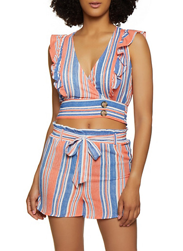 Striped Ruffle Faux Wrap Top,CORAL,large