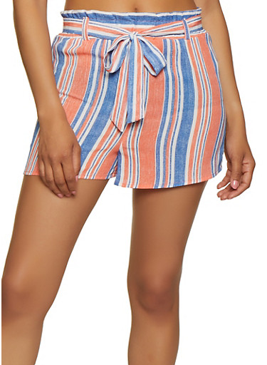 Striped Belted Shorts | 3413054212702,CORAL,large