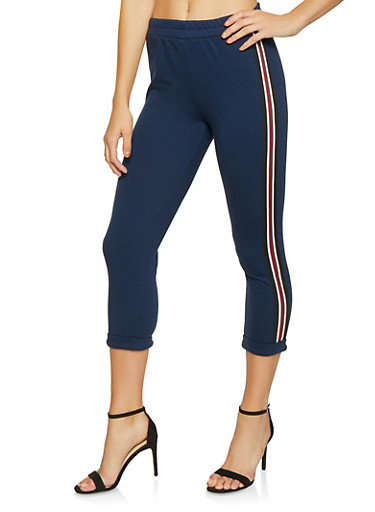 Striped Tape Trim Cropped Sweatpants,NAVY,large
