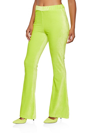 Flared Corduroy Pants,NEON LIME,large