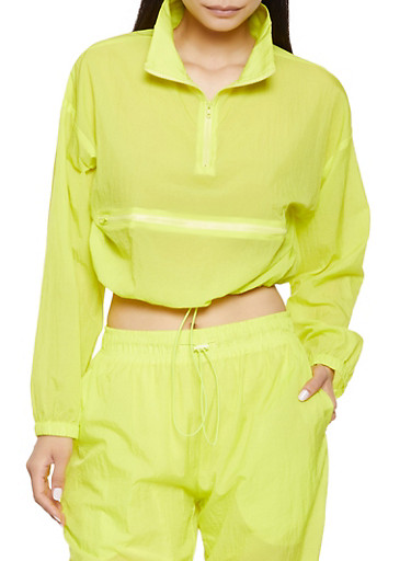 Cross Zipper Pull Over Windbreaker,NEON YELLOW,large
