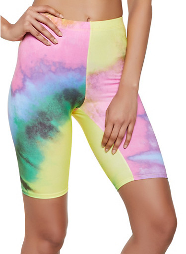 Soft Knit Tie Dye Bike Shorts,YELLOW,large